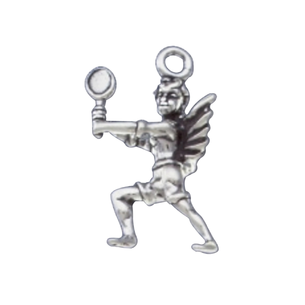 3D Angel With Wings Holding Tennis Racket Charm