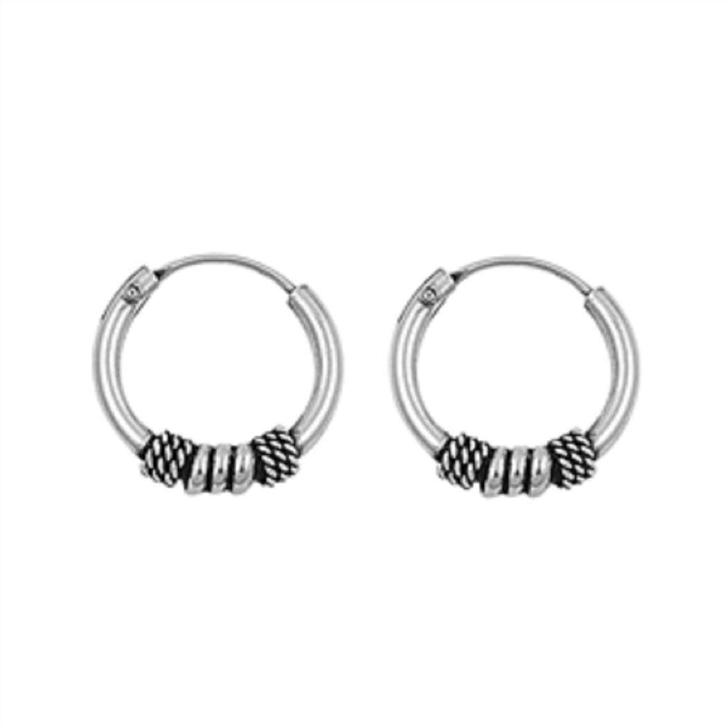 10mm Diameter Bali Endless Hoop Earrings With Ball And Four Wraps