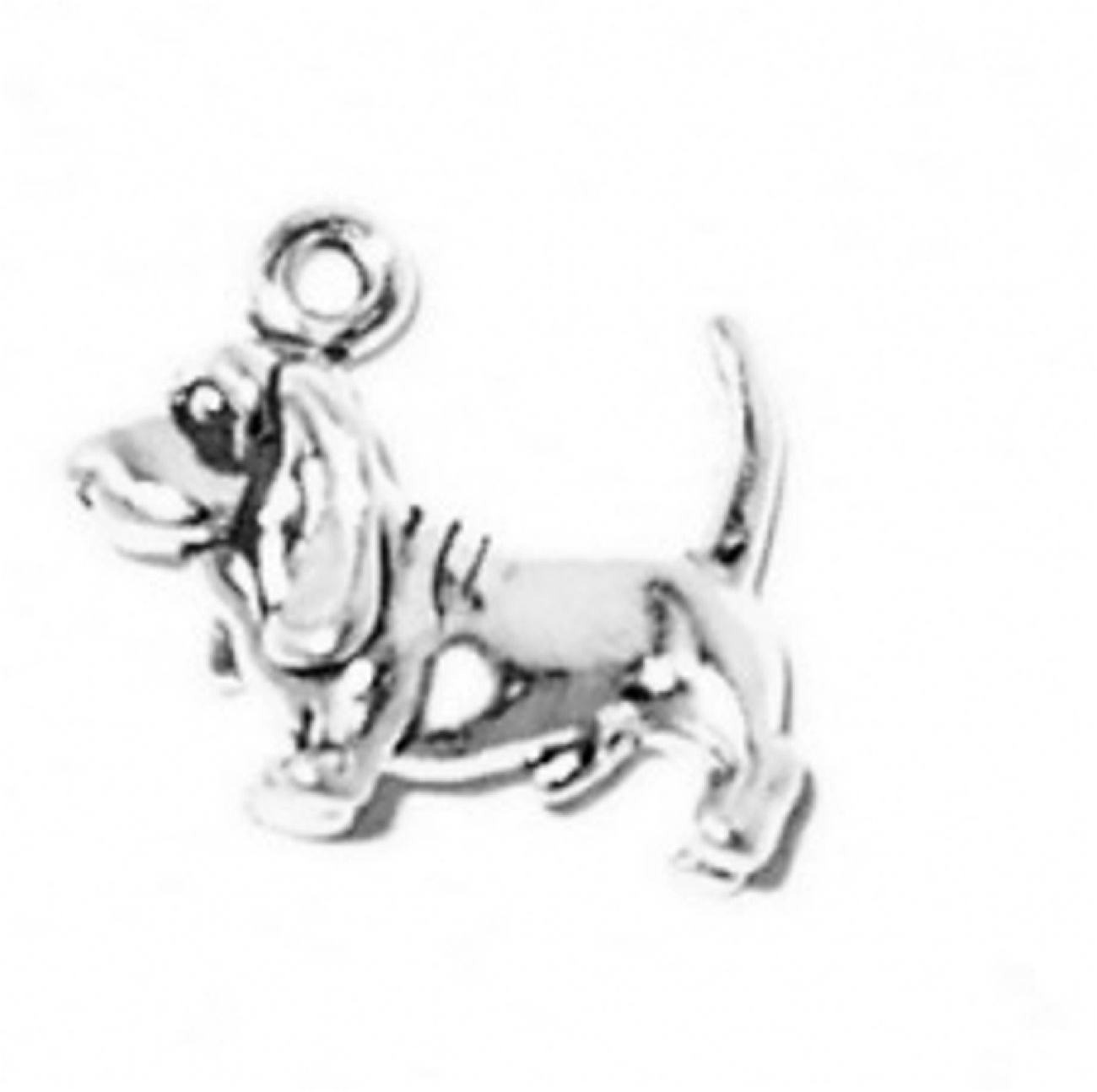 3D Small Basset Hound With Tail Up Dog Breed Charm