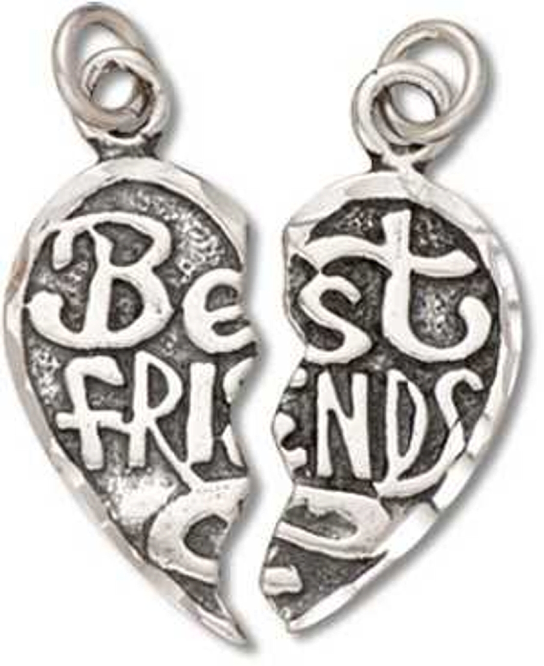 2 Piece Best Friends Heart Forever Apart Or Together Charm