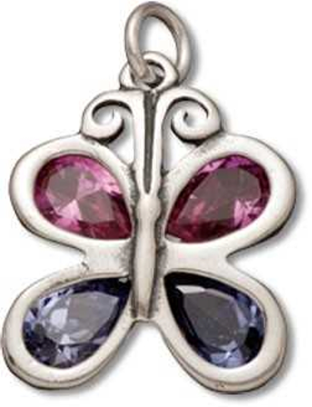 Pink And Blue Cubic Zirconia Butterfly Charm