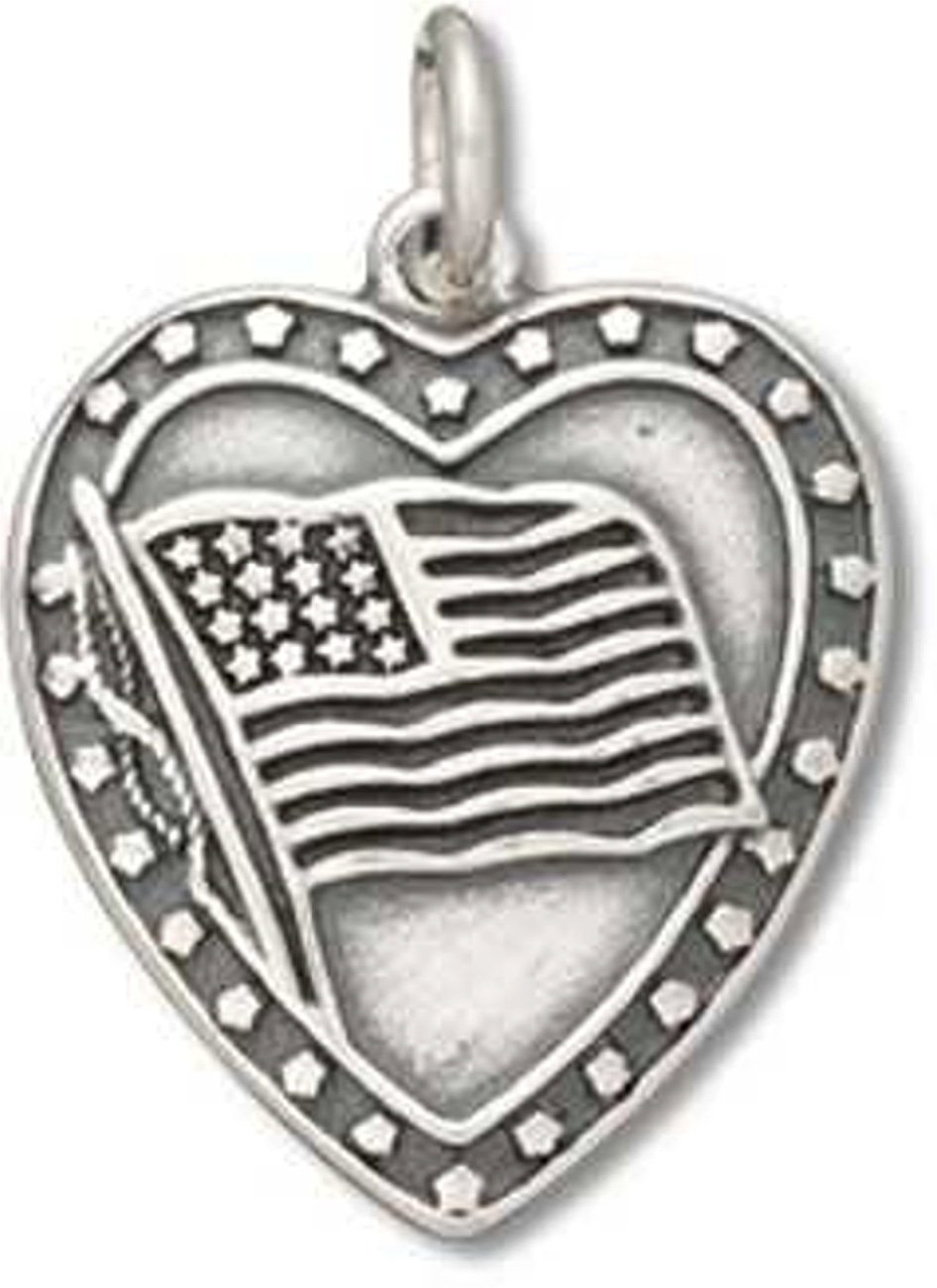 Heart With American Flag And Stars Charm