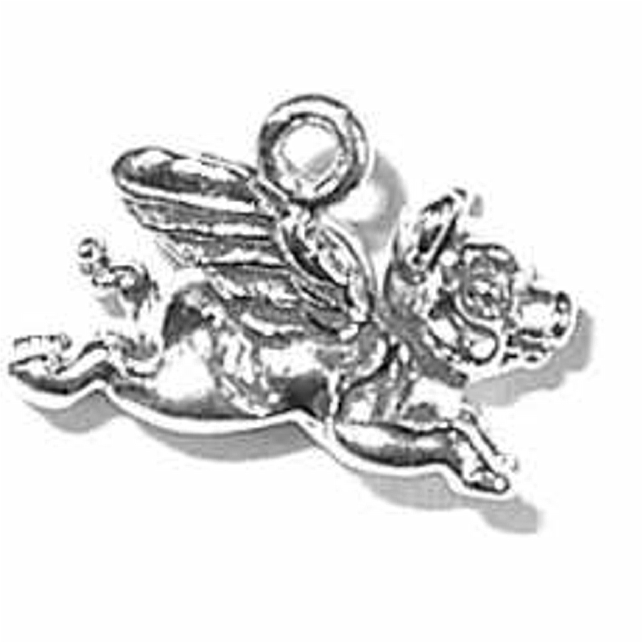 Sterling Silver 3D Flying Pig Charm