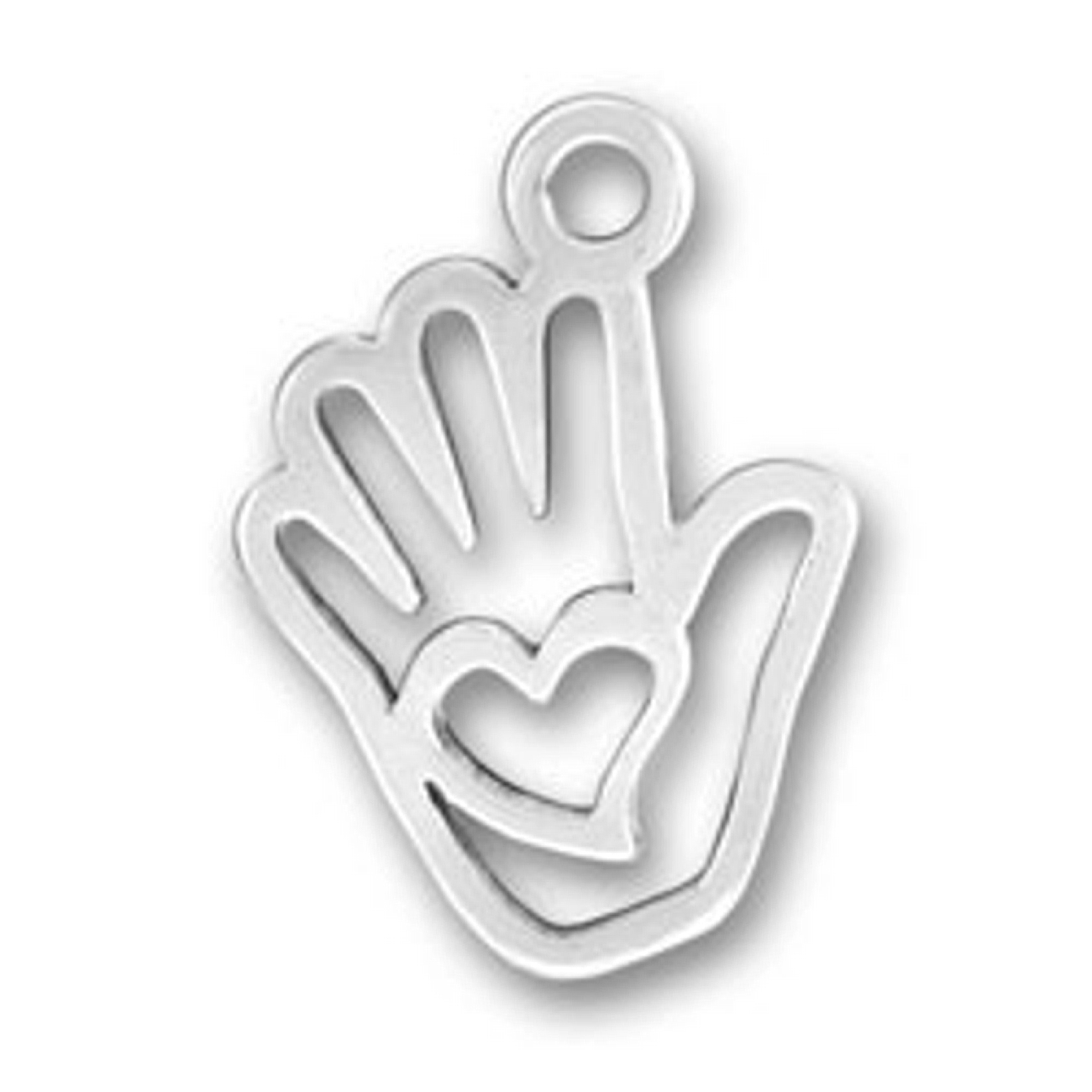 Heart In Palm Of Hand Outline Charm