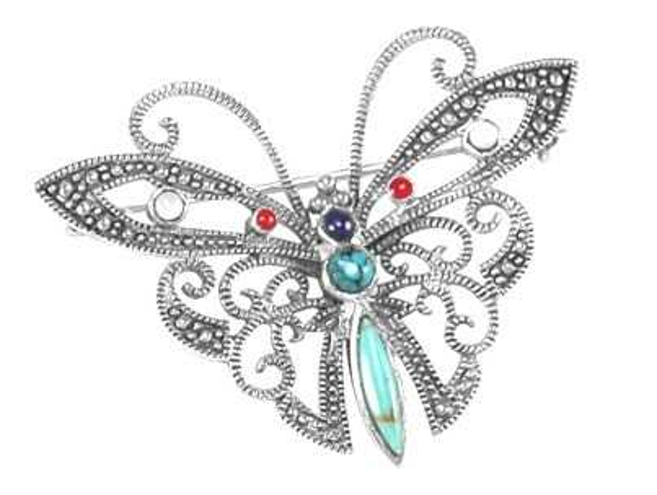 Marcasite Turquoise Red Coral Butterfly Brooch Pin