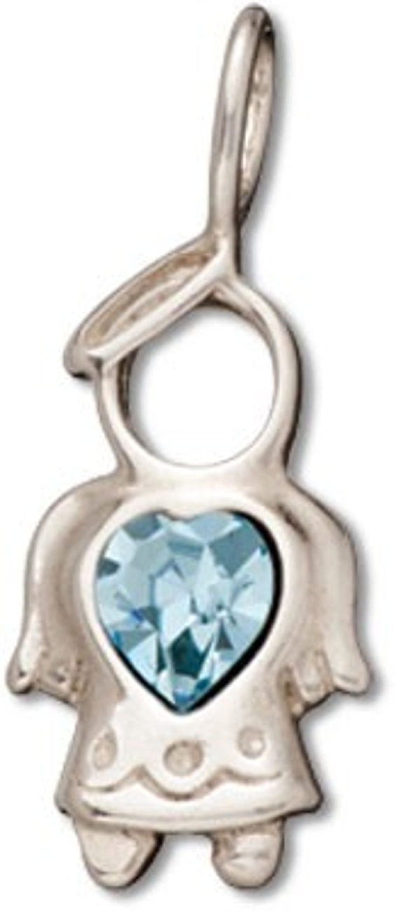 Angel With Aquamarine Blue Cubic Zirconia March Birthstone Charm