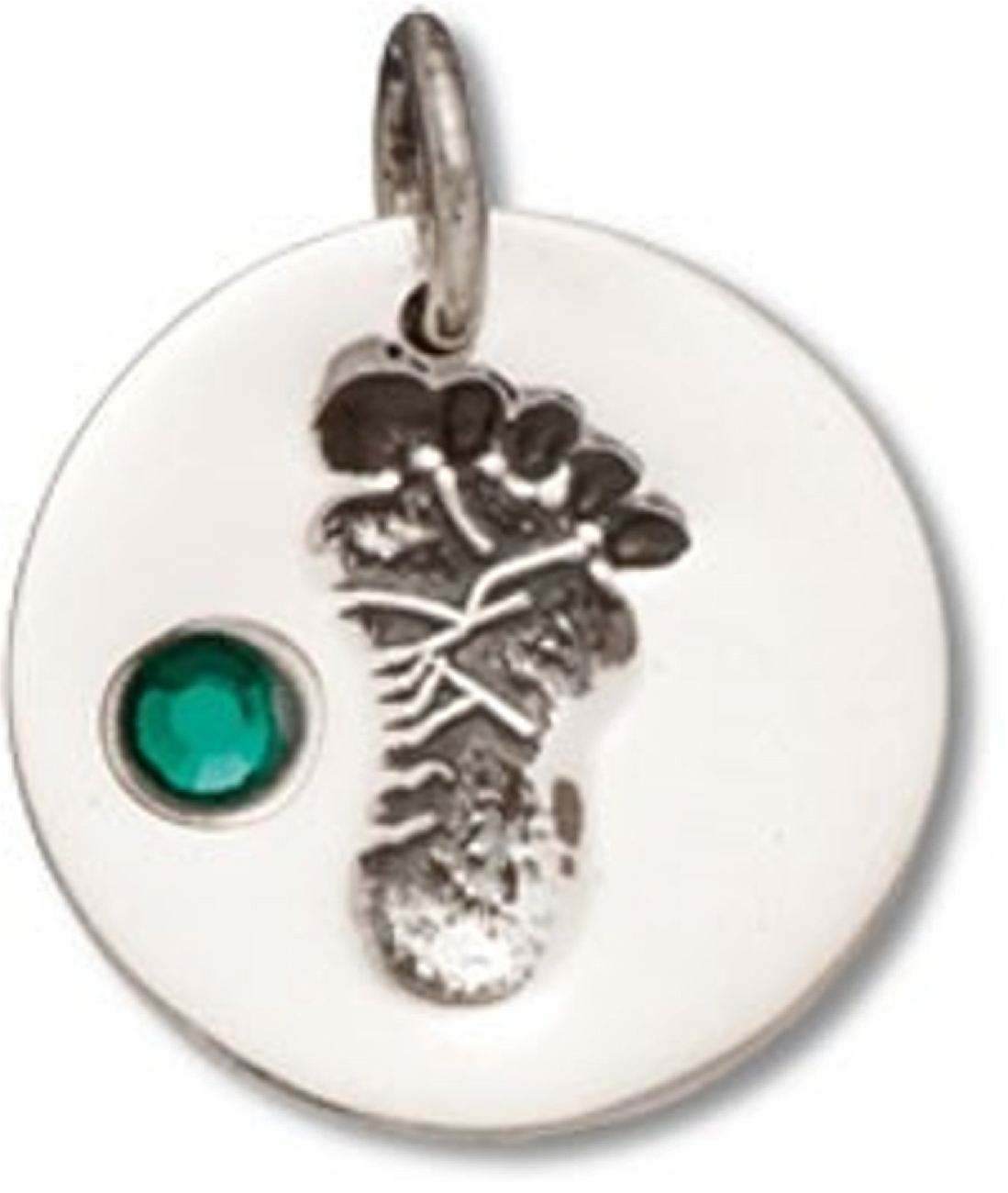Round Green May Cubic Zirconia Birthstone Baby Footprint Charm