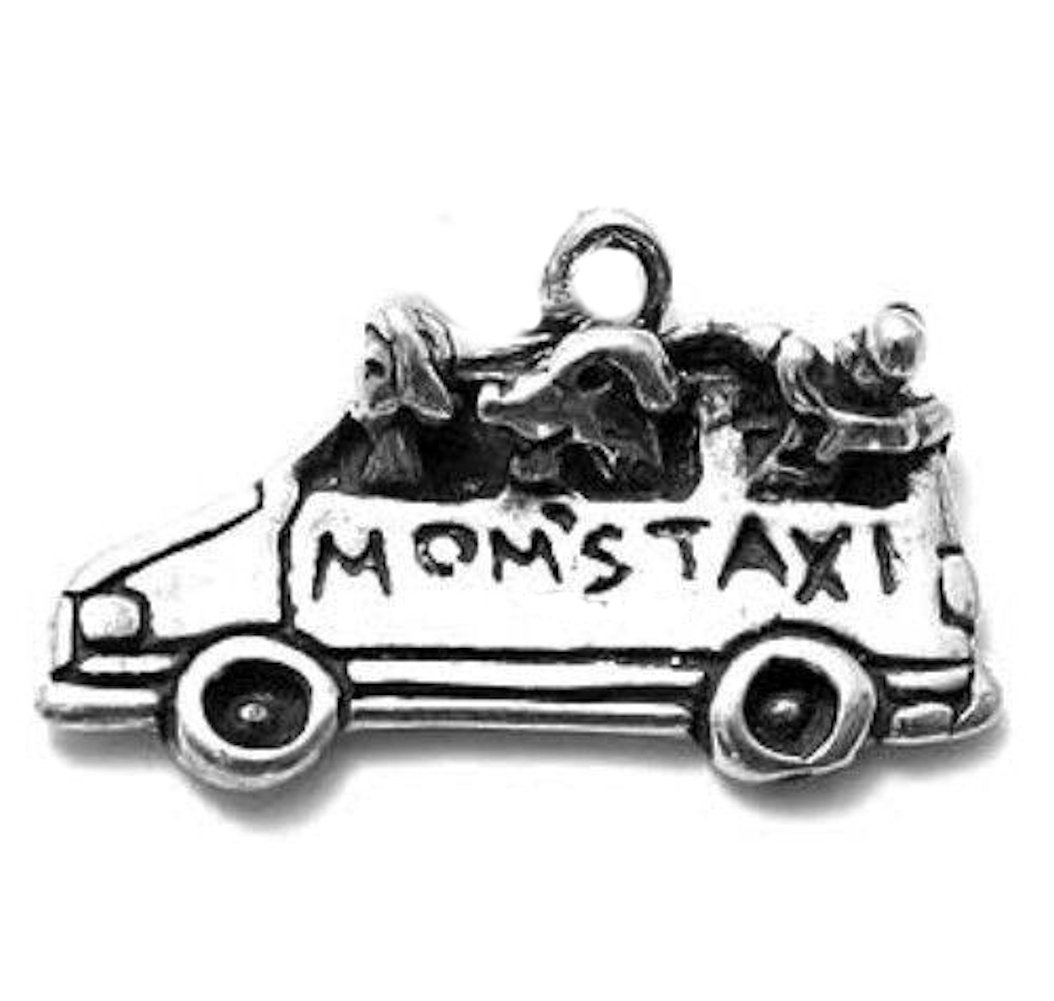 Minivan Car With Dog And Kids Moms Taxi Charm