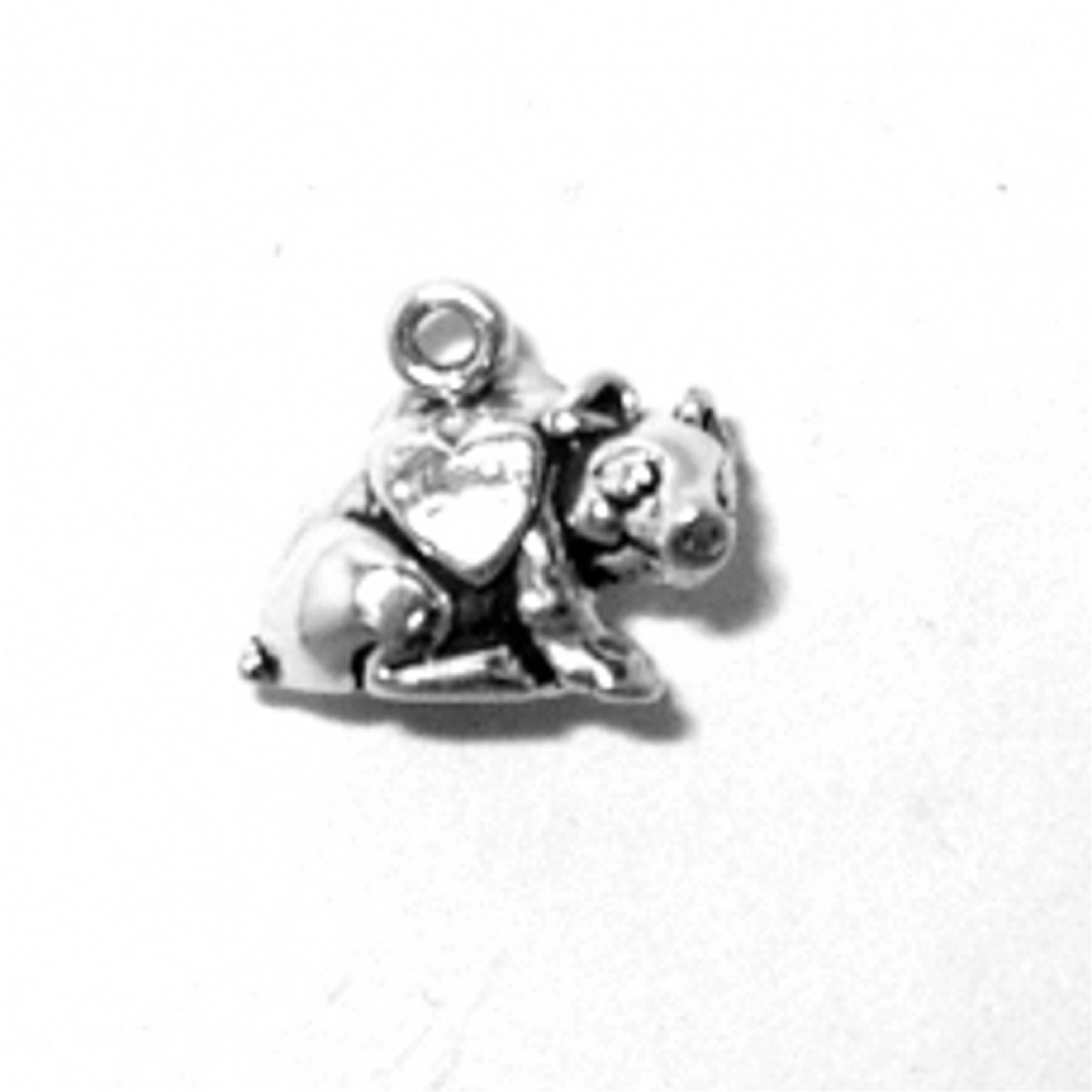 3D I Love Pigs Sitting Pig With Heart Charm