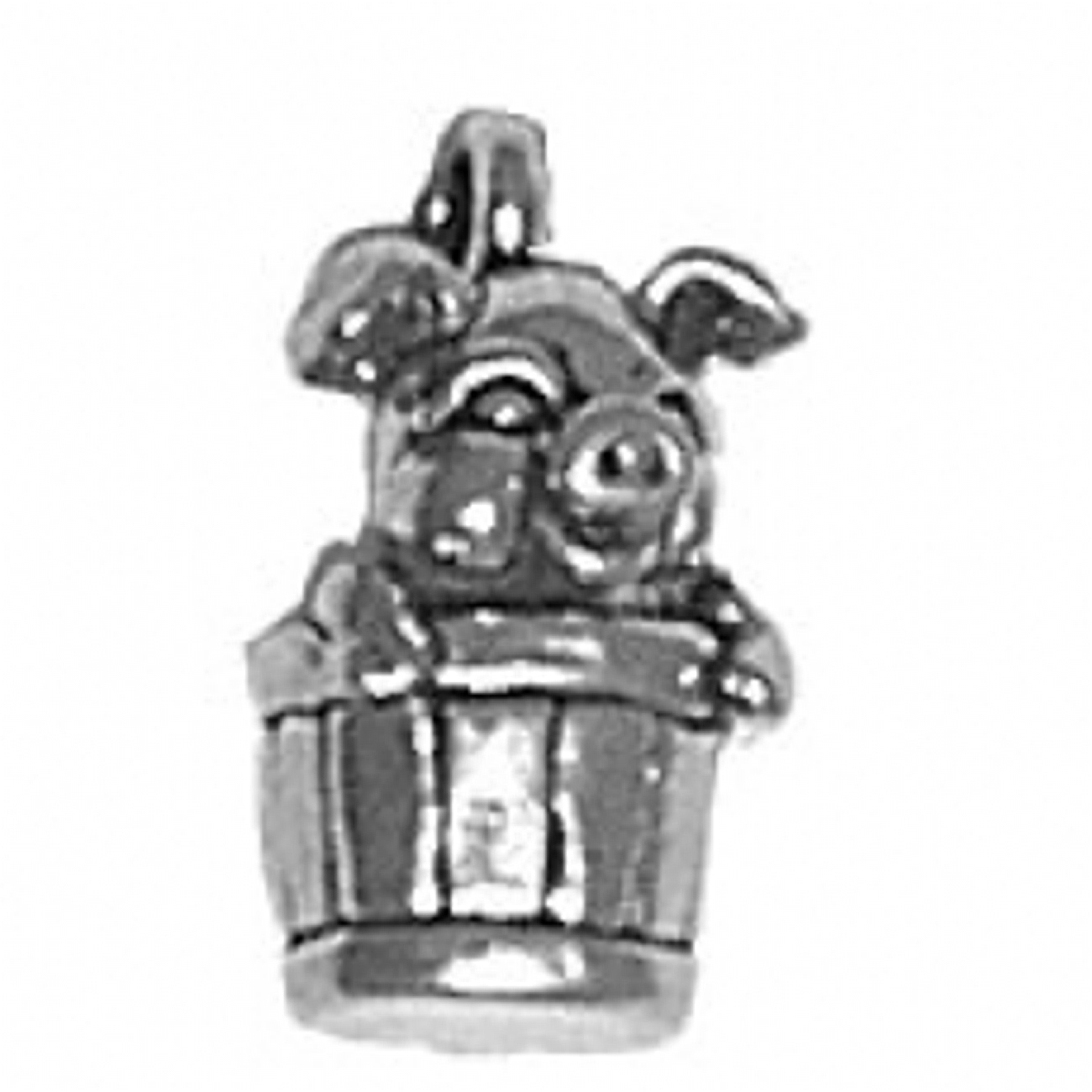 Pig In A Basket 3D Charm