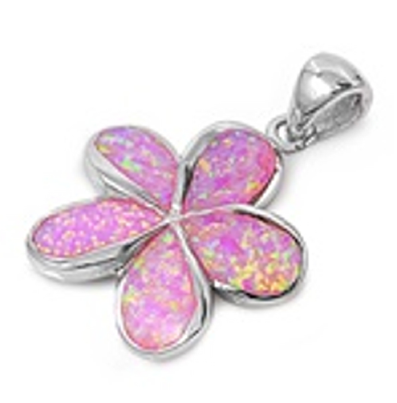 Sterling Silver Pink Opal Plumeria Pendant