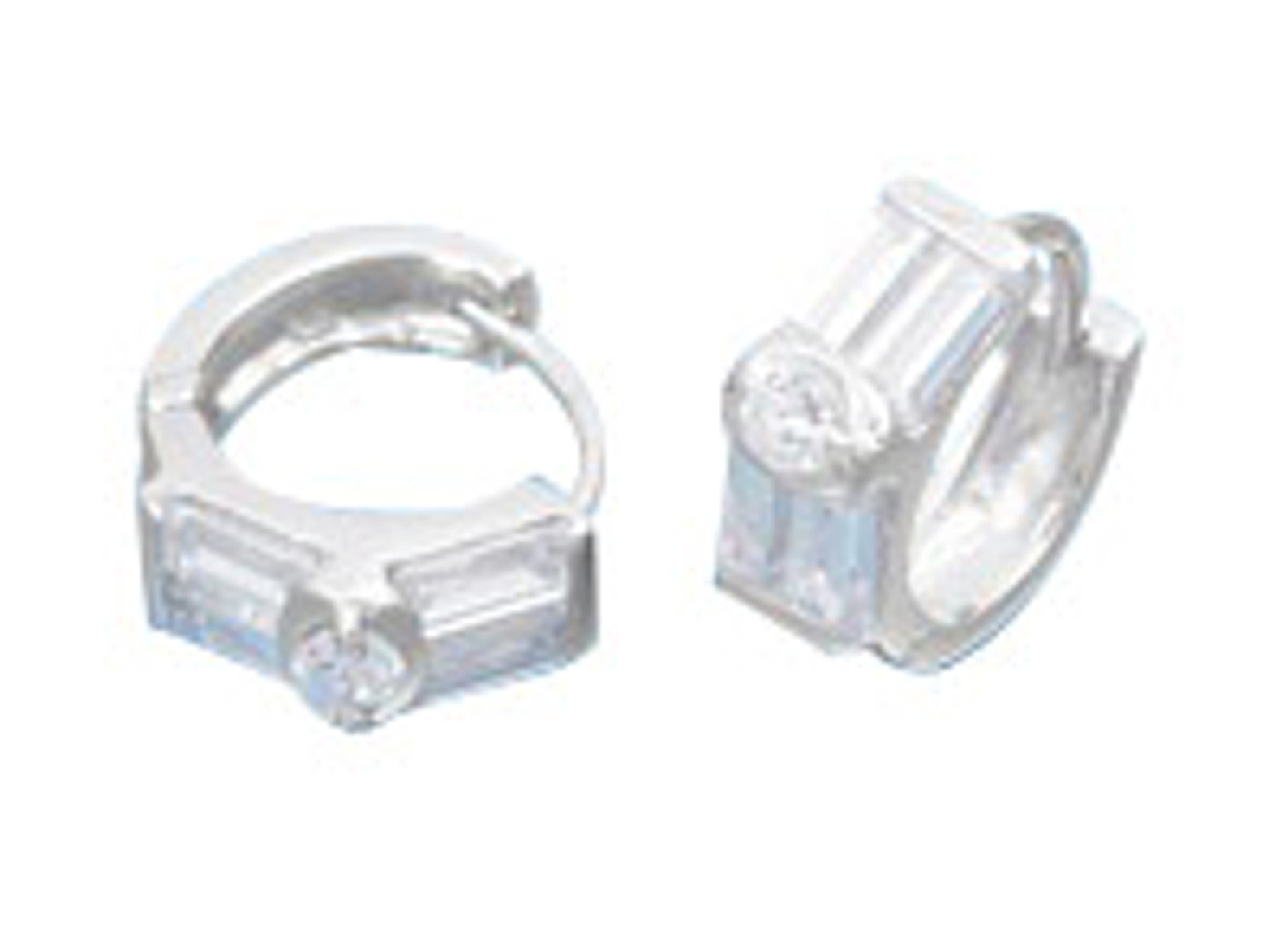 15mm Diameter Round and Baguette Style CZ Hinged Huggie Hoop Earrings