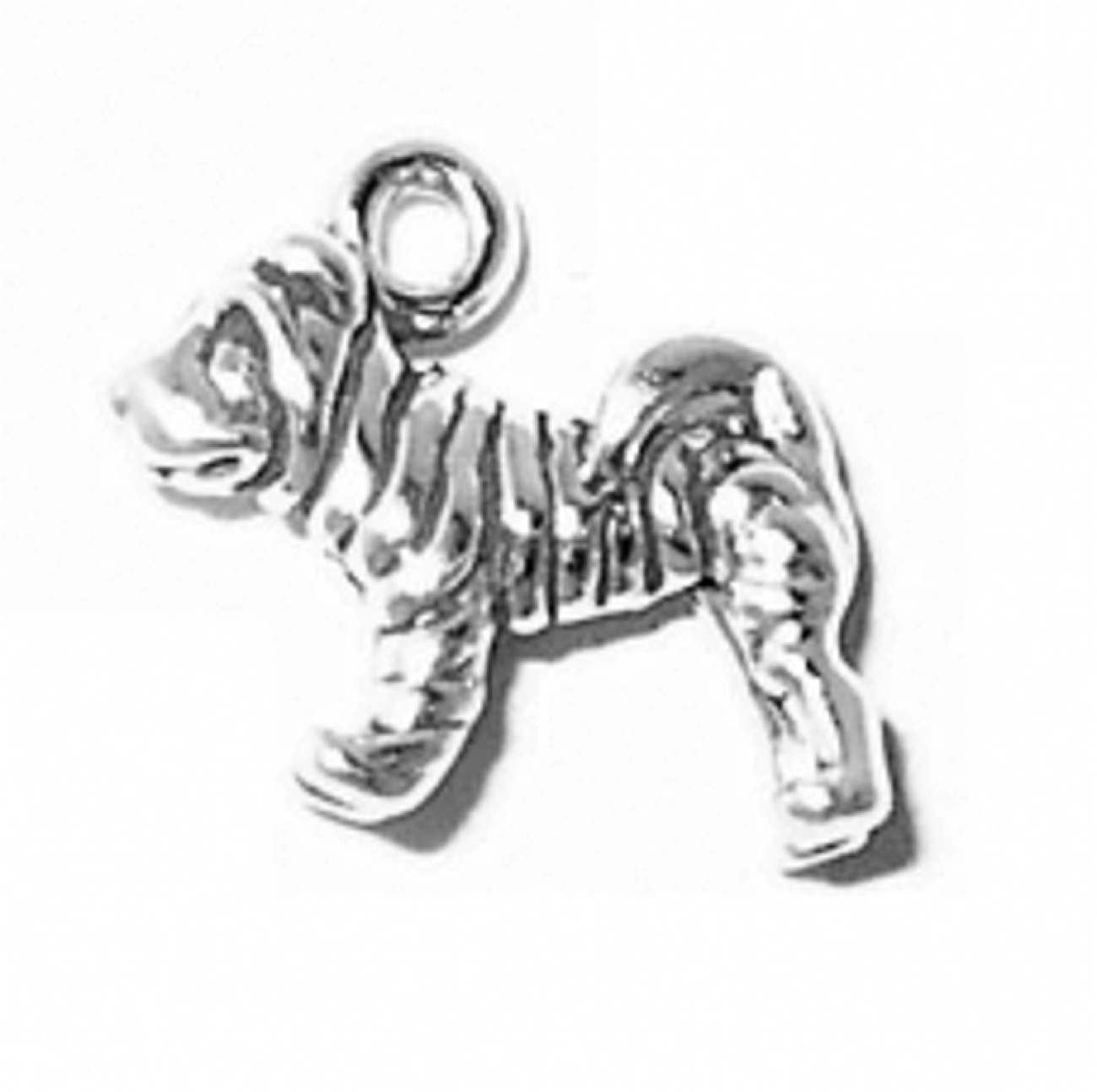 3D Small Wrinkled Shar Pei Dog Breed Charm