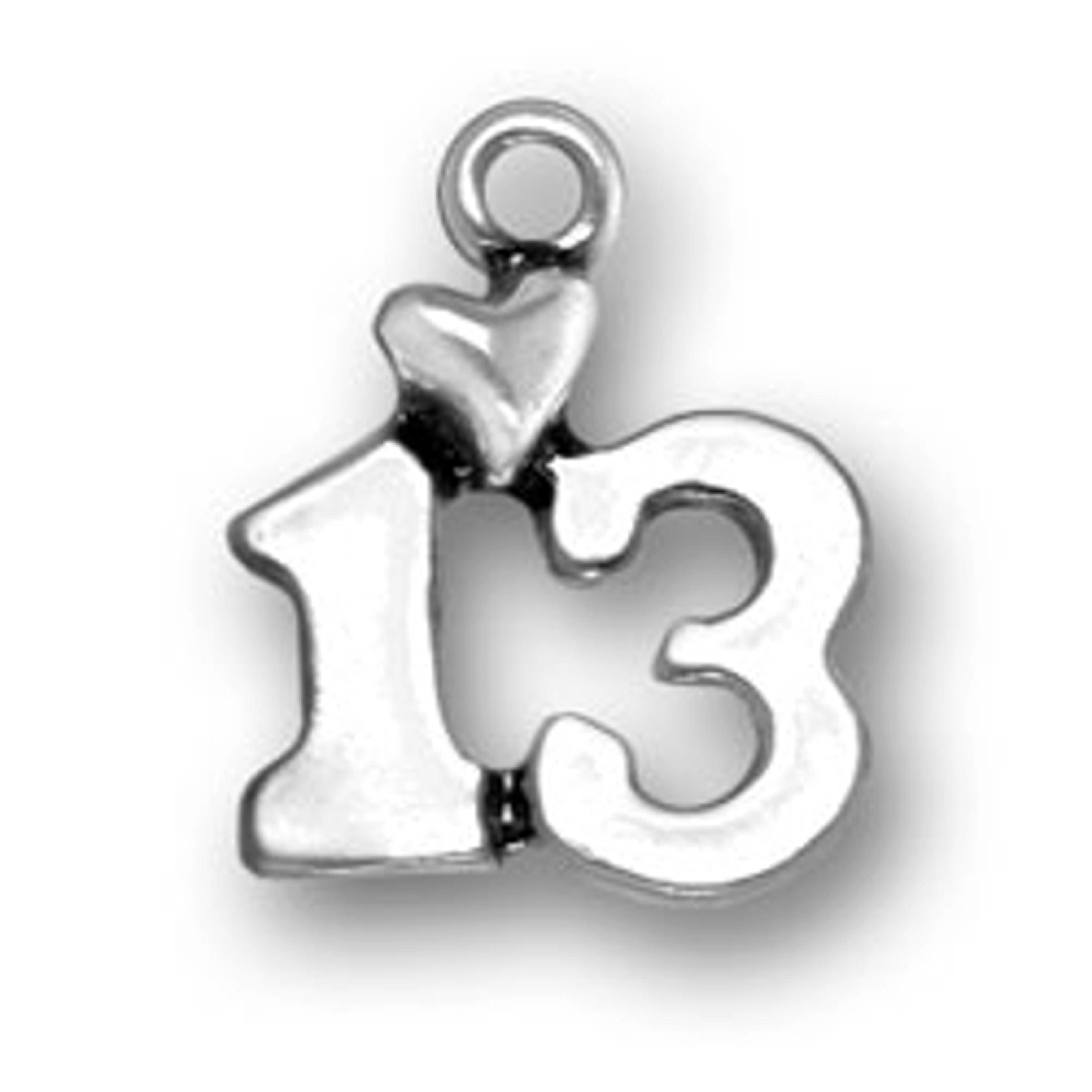 Number Thirteen With A Heart Charm