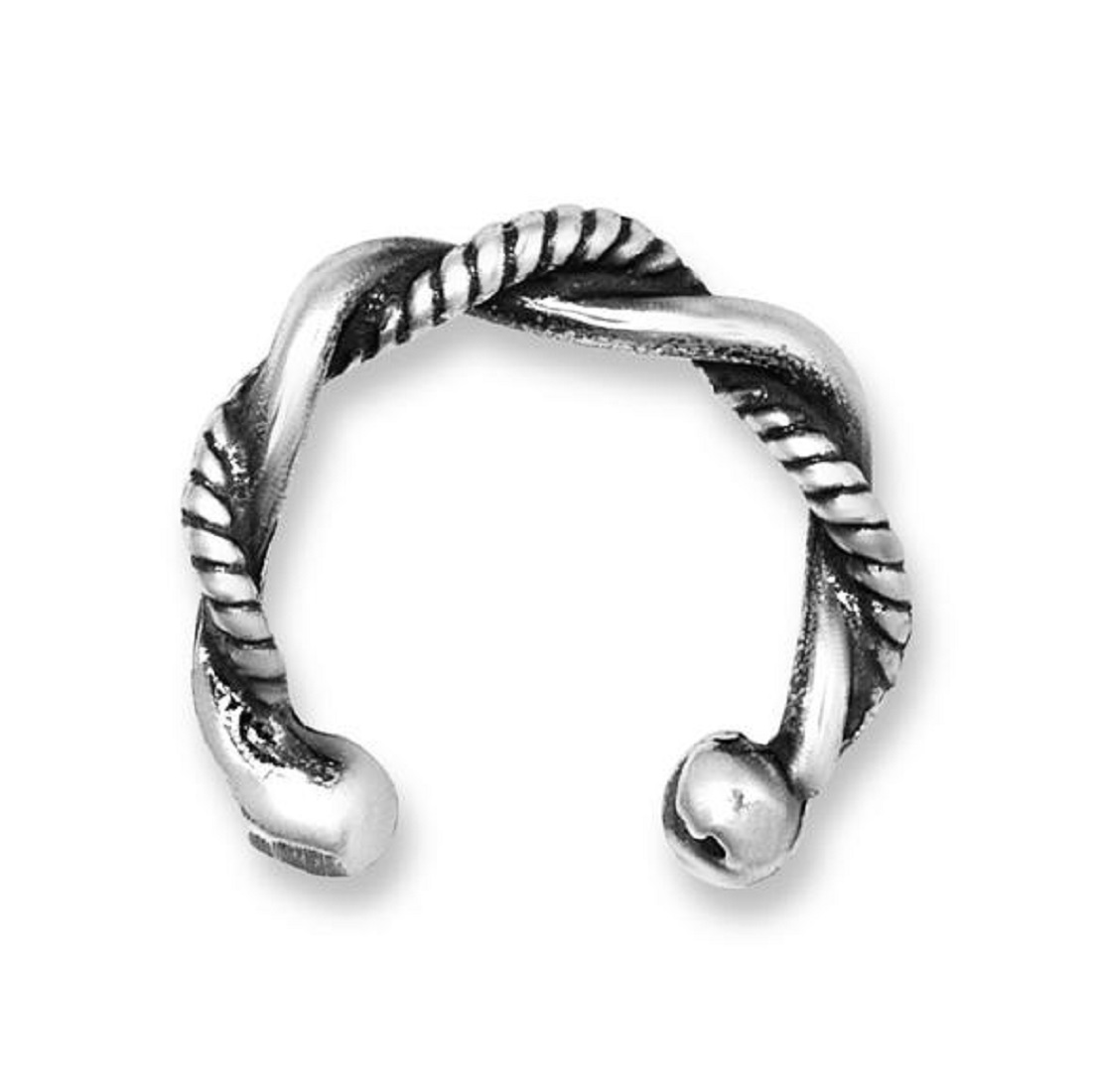 Twisted Plain And Rope Wire Band Outer Ear Cuff