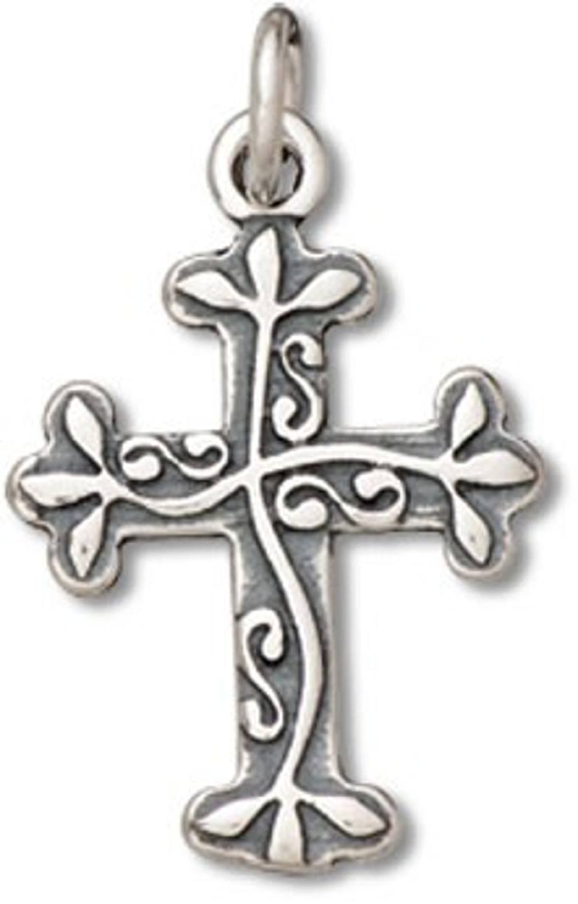 Vine Engraved Cross Charm