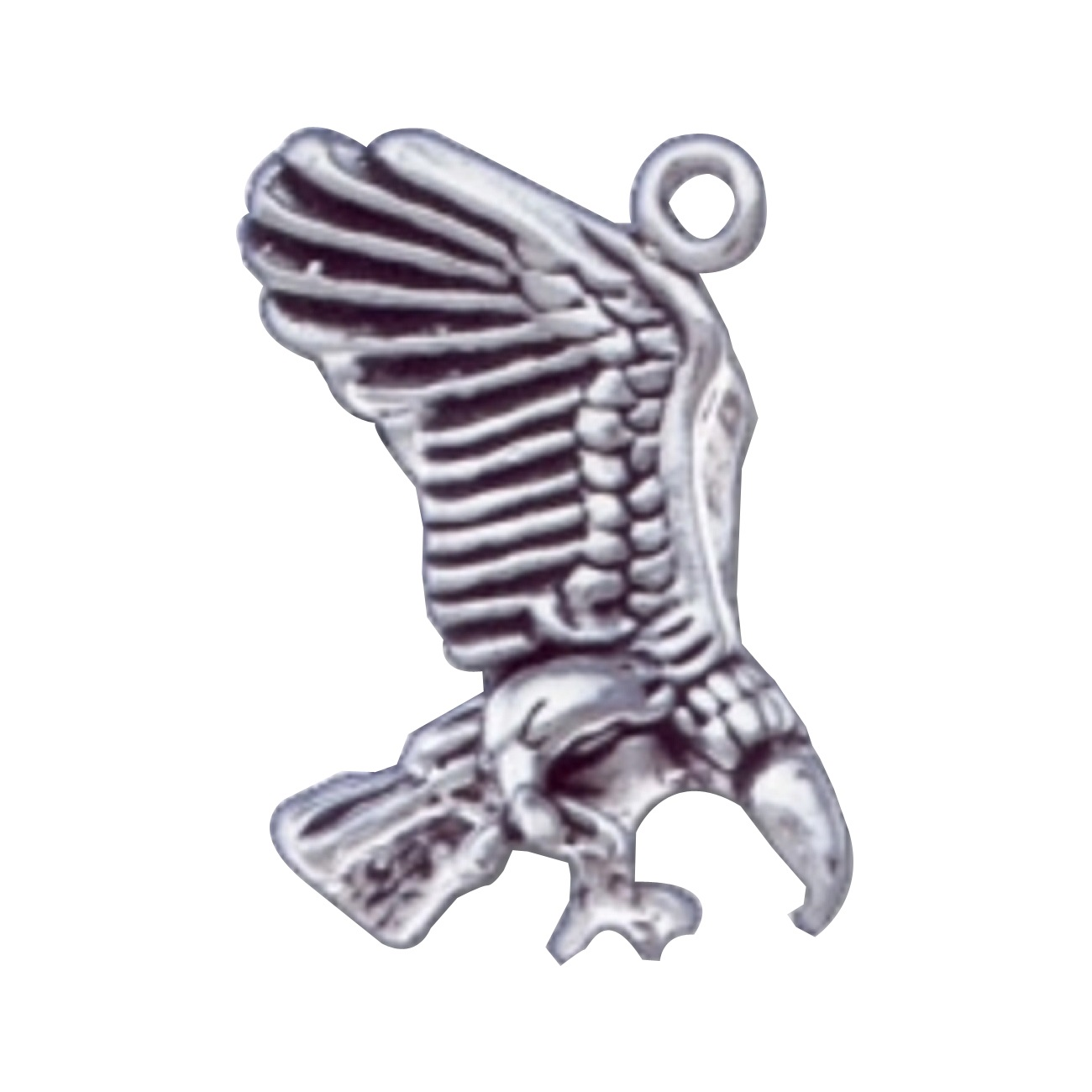 3d eating vulture charm with wings raised sterling silver eating