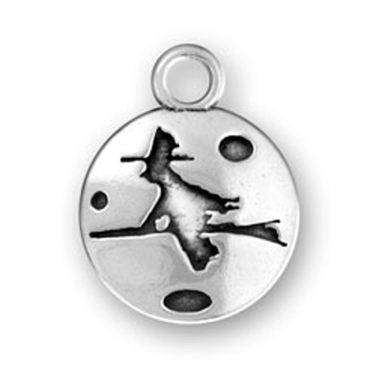 Witch On Flying Broom Circle Charm