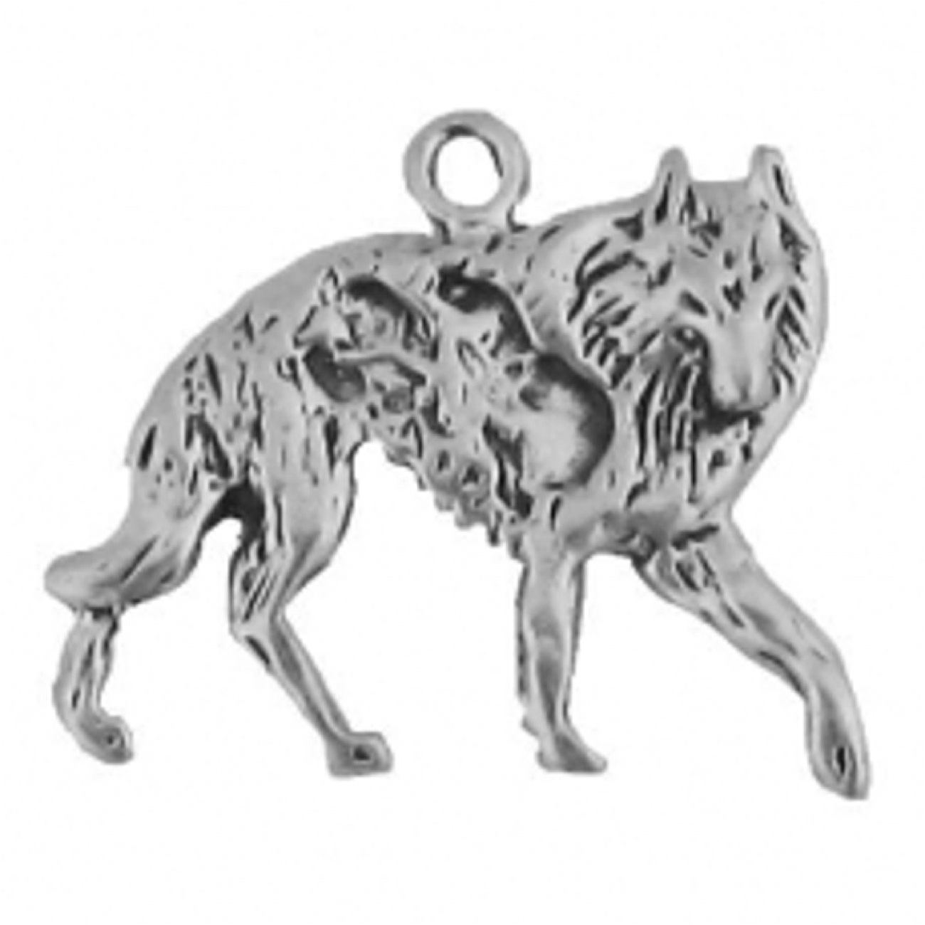 Wolf Facing Right On The Hunt Charm