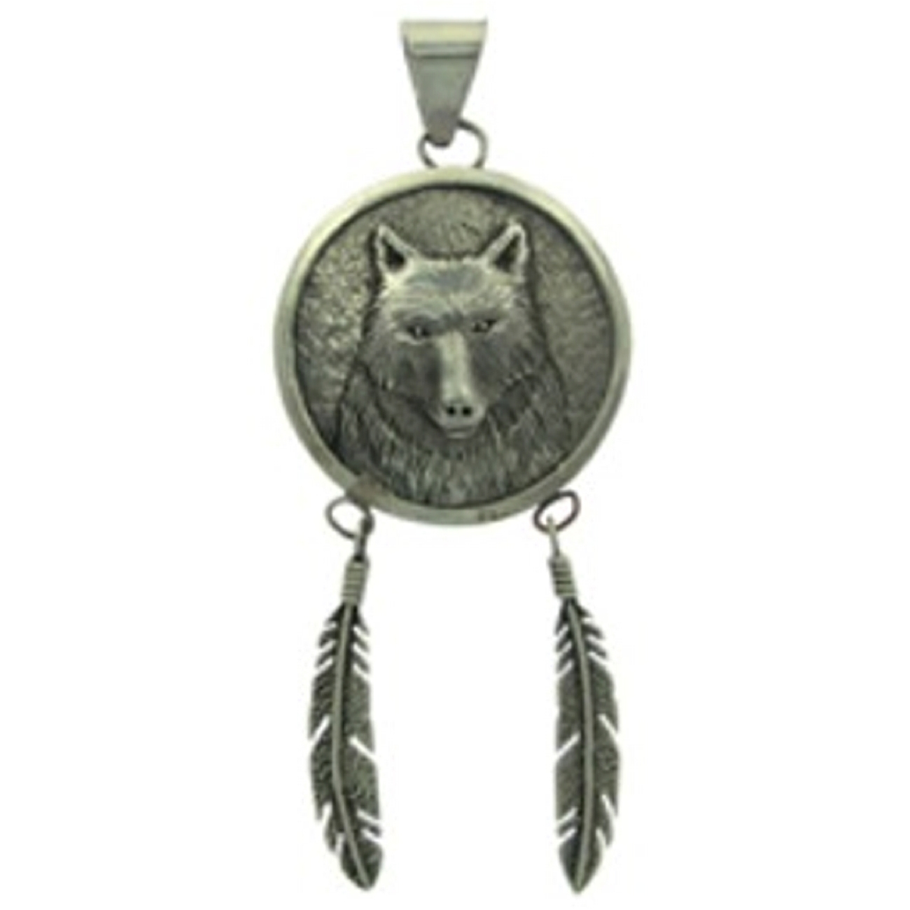 Wolf In Circle With Hanging Feathers Pendant