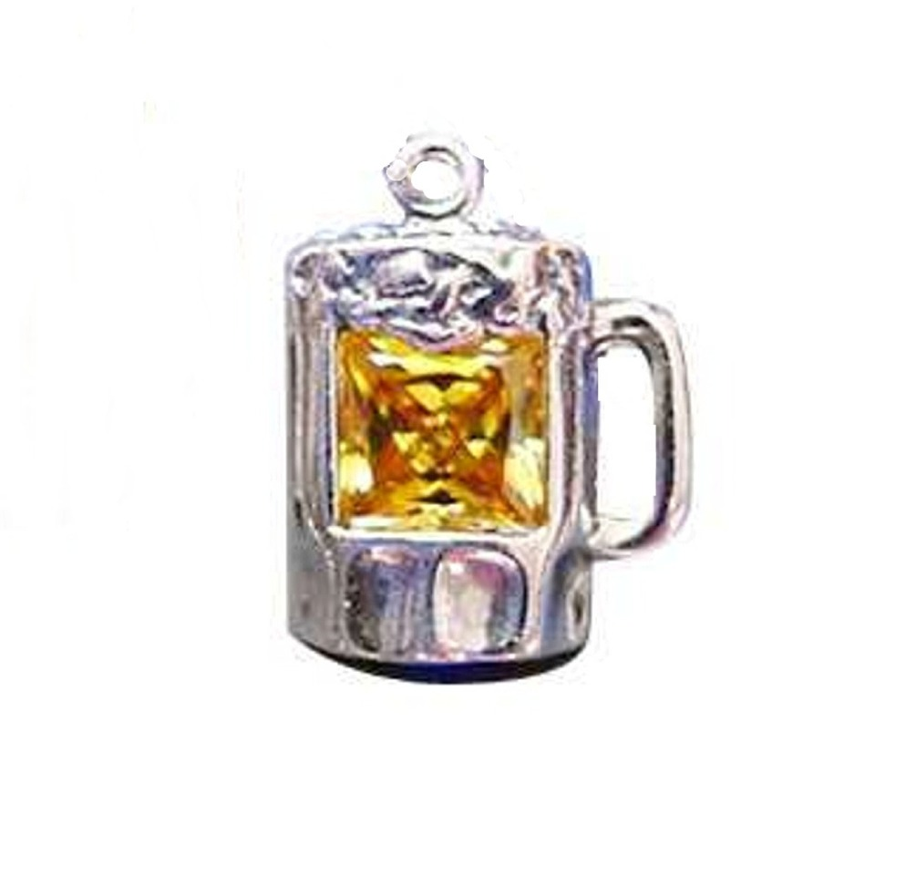 Sterling Silver Yellow Cubic Zirconia Mug of Beer Charm
