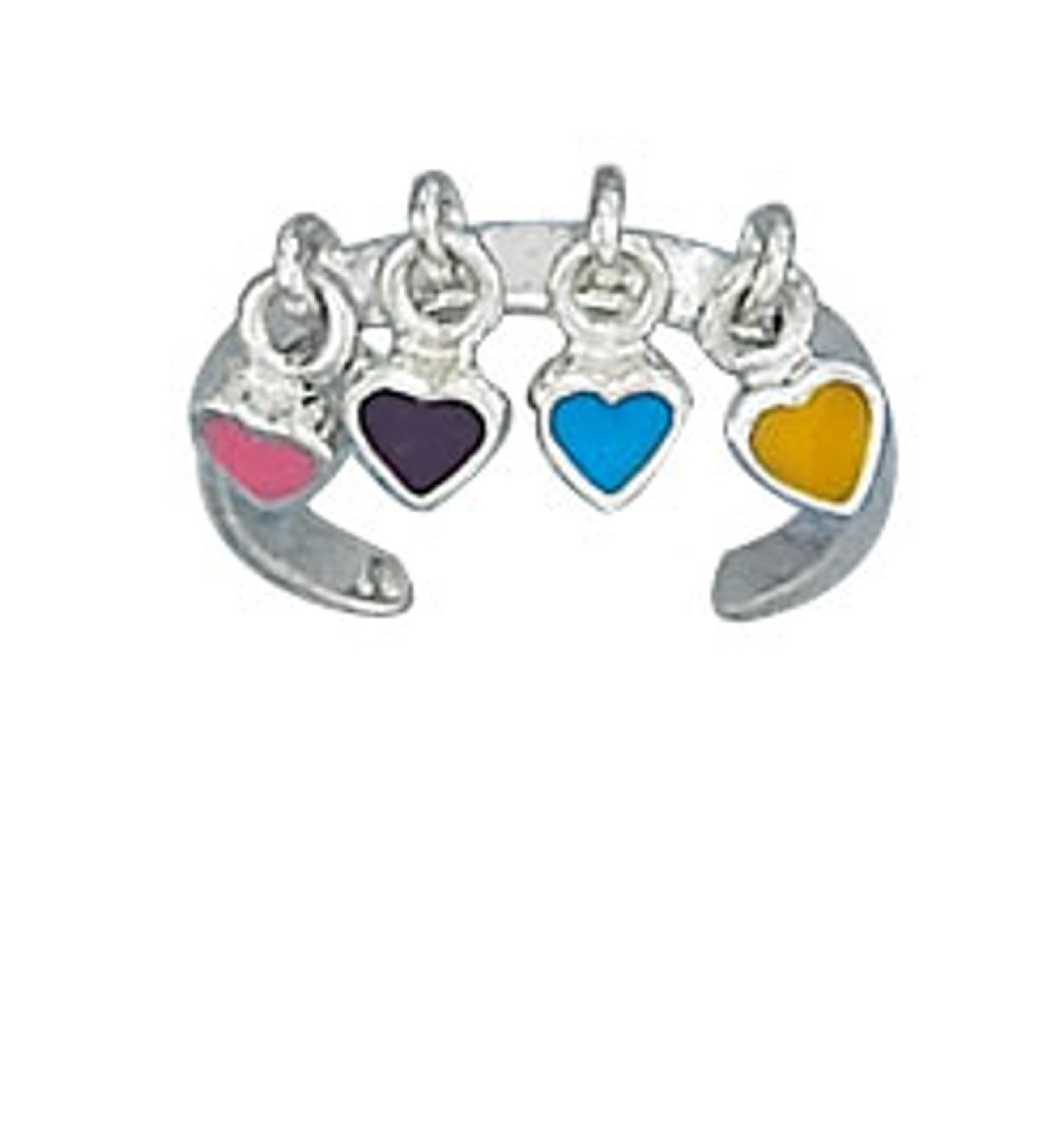 Pink Black Blue Yellow Enamel Heart Dangle Charms Toe Ring