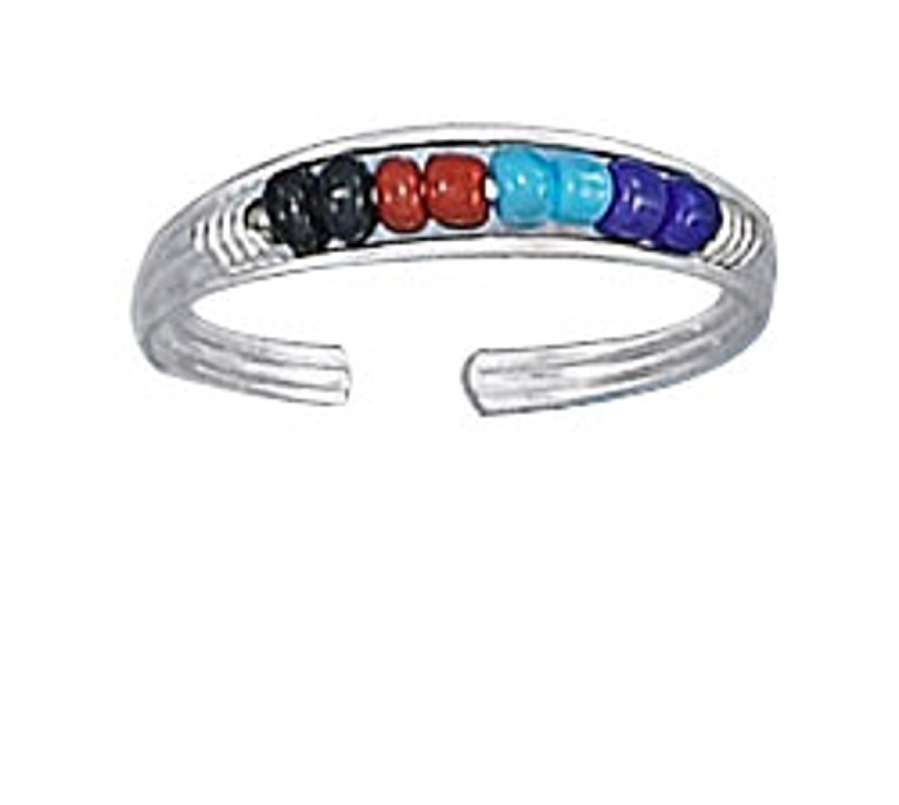 Multi Colored Beaded Toe Ring