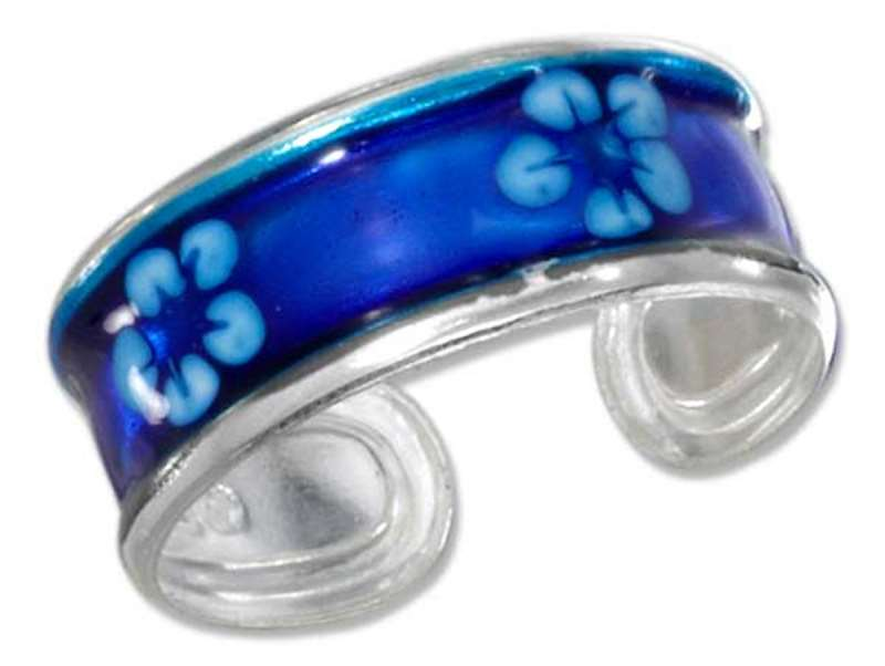 Hawaiian Tropical Blue Plumeria Flowers Enameled Toe Ring