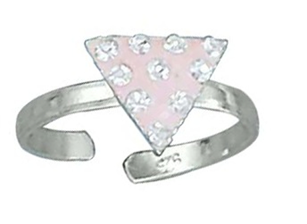 Pink Rhinestone Crystals Equilateral Triangle Toe Ring